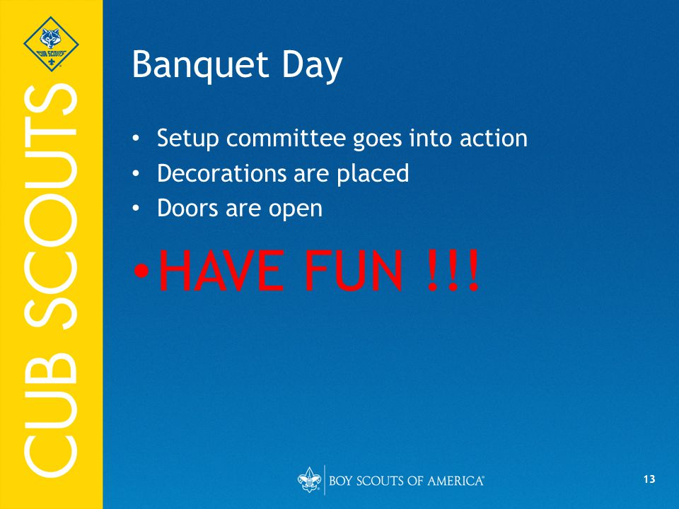 13 Banquet Day Setup committee goes into action Decorations are placed Doors are open HAVE FUN !!!