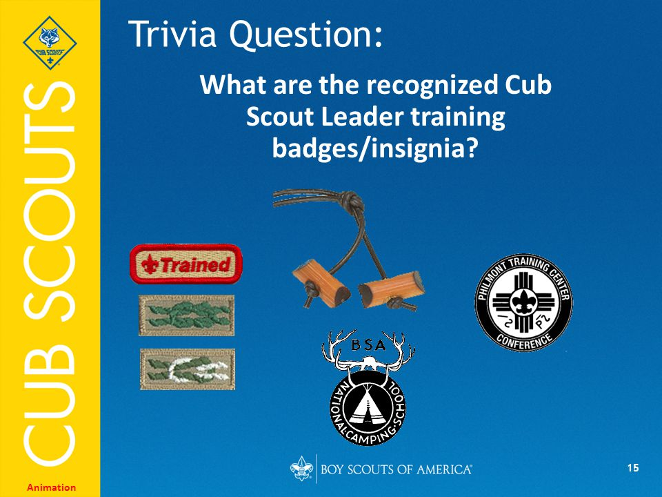 15 Trivia Question: Animation What are the recognized Cub Scout Leader training badges/insignia