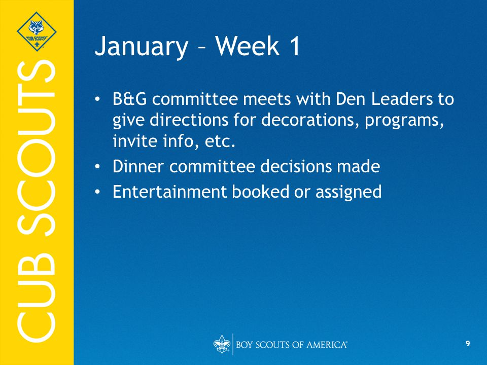 9 January – Week 1 B&G committee meets with Den Leaders to give directions for decorations, programs, invite info, etc.