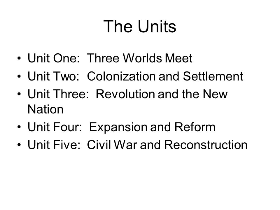 The Units Unit Six: The Development of the Industrial United States Unit Seven: The Emergence of Modern America Unit Eight: The Great Depression and World War II Unit Nine: Postwar United States Unit Ten: Contemporary United States