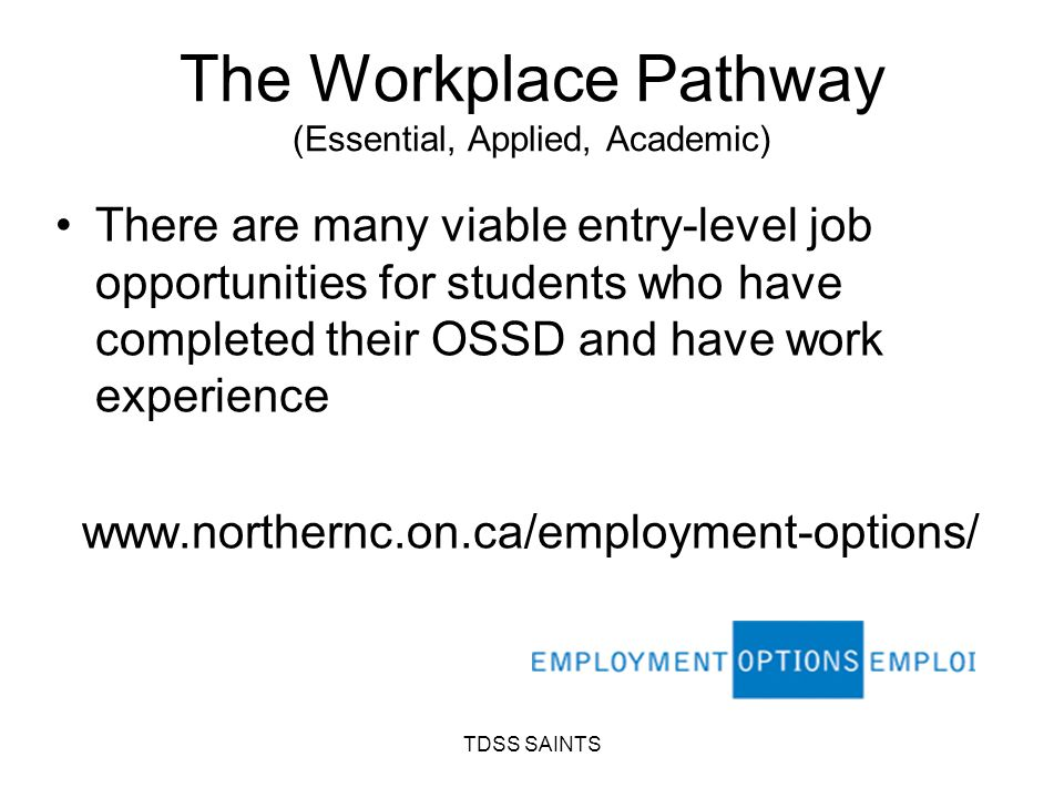 The Workplace Pathway (Essential, Applied, Academic) There are many viable entry-level job opportunities for students who have completed their OSSD and have work experience www.northernc.on.ca/employment-options/ TDSS SAINTS