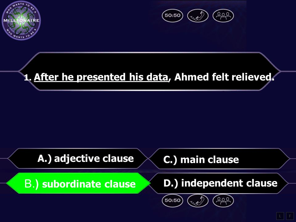 1.After he presented his data, Ahmed felt relieved.