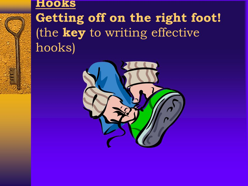 A hook is the beginning of a piece of writing.