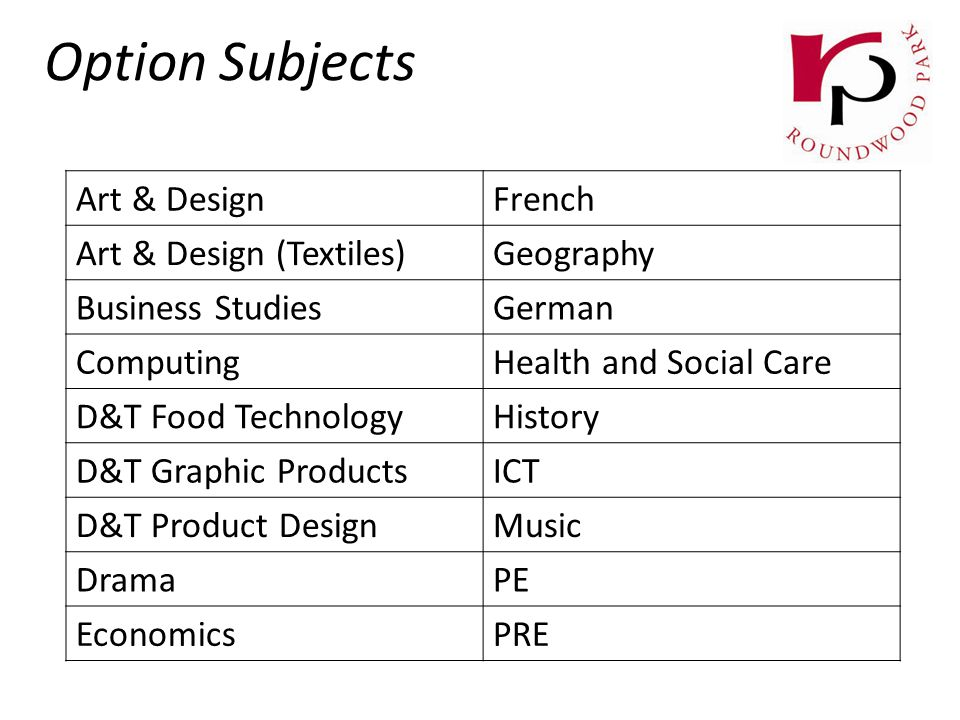 Option Subjects Art & DesignFrench Art & Design (Textiles)Geography Business StudiesGerman ComputingHealth and Social Care D&T Food TechnologyHistory D&T Graphic ProductsICT D&T Product DesignMusic DramaPE EconomicsPRE
