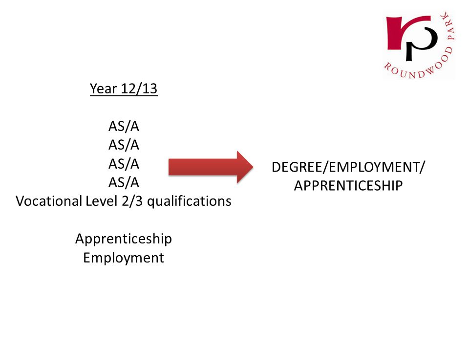 Year 12/13 AS/A Vocational Level 2/3 qualifications Apprenticeship Employment DEGREE/EMPLOYMENT/ APPRENTICESHIP