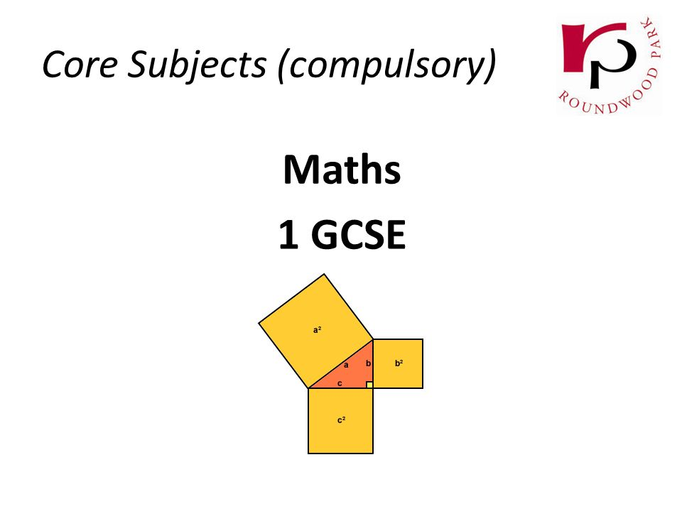 Core Subjects (compulsory) Maths 1 GCSE