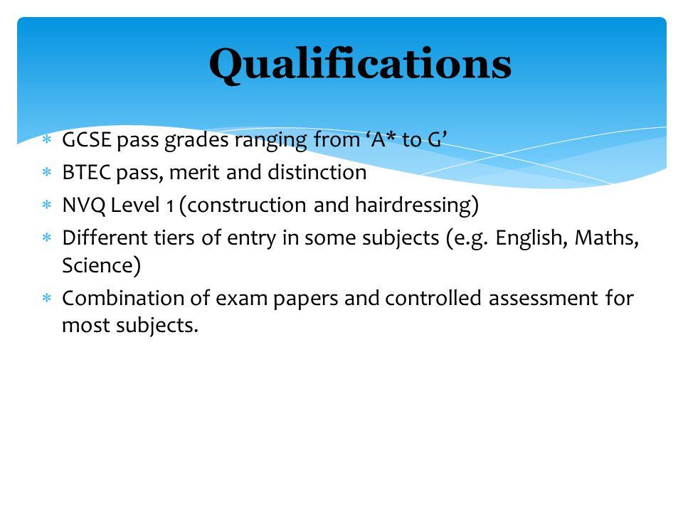  GCSE OPTION = 1 GCSE A*-G  Double GCSE = 2 GCSEs A*-G  NVQ LEVEL 1 = GCSE D-G  NVQ LEVEL 2 = GCSE A*-C  BTEC level 2 Pass = C, Merit = B, Distinction =A QUALIFICATION VALUES