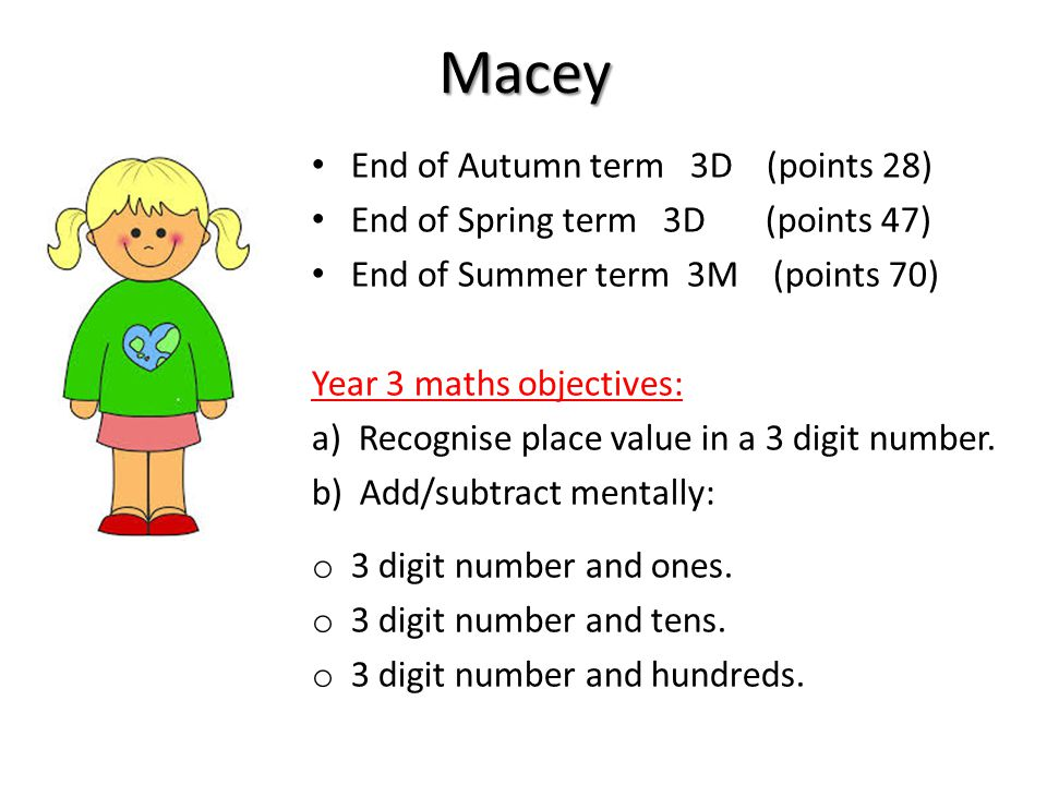 Macey End of Autumn term 3D (points 28) End of Spring term 3D (points 47) End of Summer term 3M (points 70) Year 3 maths objectives: a) Recognise place value in a 3 digit number.