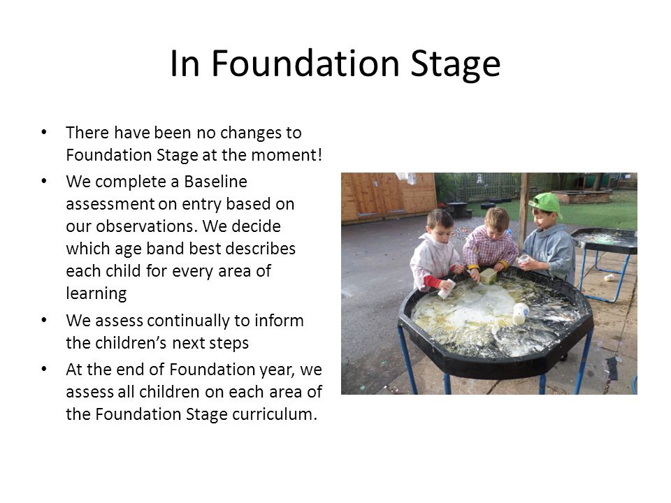 In Foundation Stage There have been no changes to Foundation Stage at the moment.
