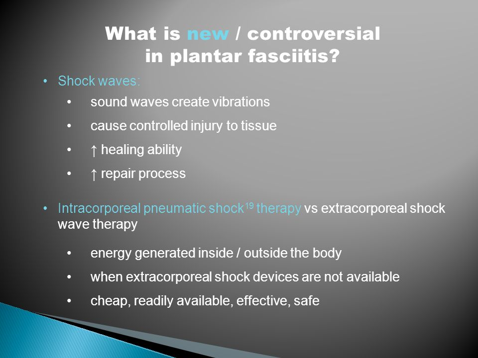 Shock waves: sound waves create vibrations cause controlled injury to tissue ↑ healing ability ↑ repair process Intracorporeal pneumatic shock 19 ther
