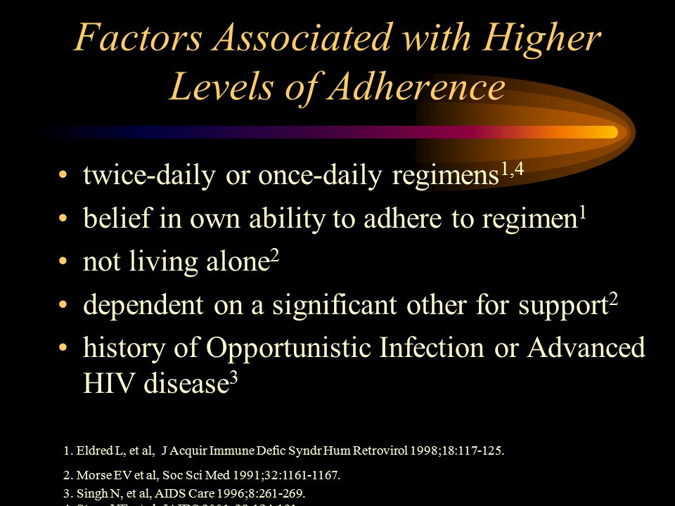 Factors Associated with Higher Levels of Adherence twice-daily or once-daily regimens 1,4 belief in own ability to adhere to regimen 1 not living alone 2 dependent on a significant other for support 2 history of Opportunistic Infection or Advanced HIV disease 3 1.