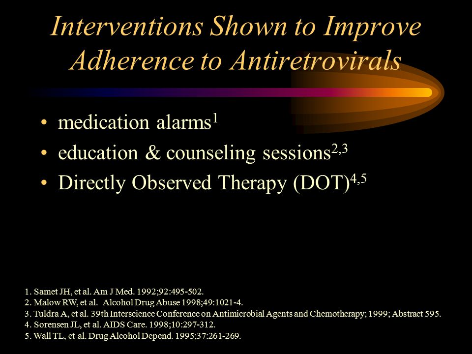 Interventions Shown to Improve Adherence to Antiretrovirals medication alarms 1 education & counseling sessions 2,3 Directly Observed Therapy (DOT) 4,5 1.