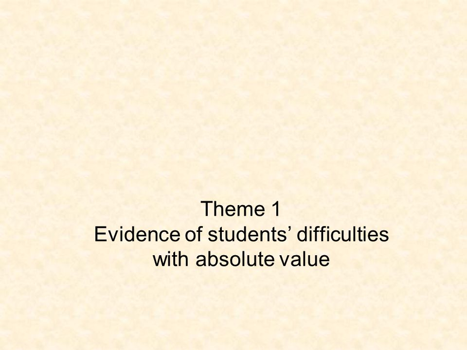 Theme 1 Evidence of students' difficulties with absolute value