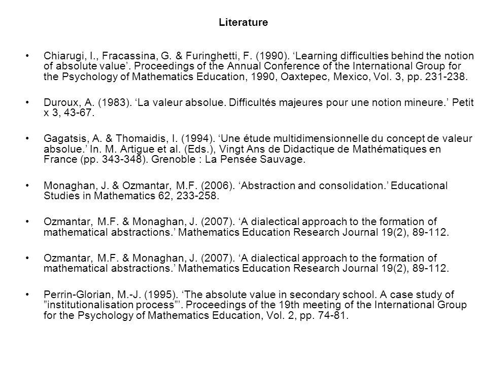 Literature Chiarugi, I., Fracassina, G. & Furinghetti, F.