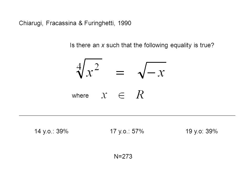 Chiarugi, Fracassina & Furinghetti, 1990 Is there an x such that the following equality is true.