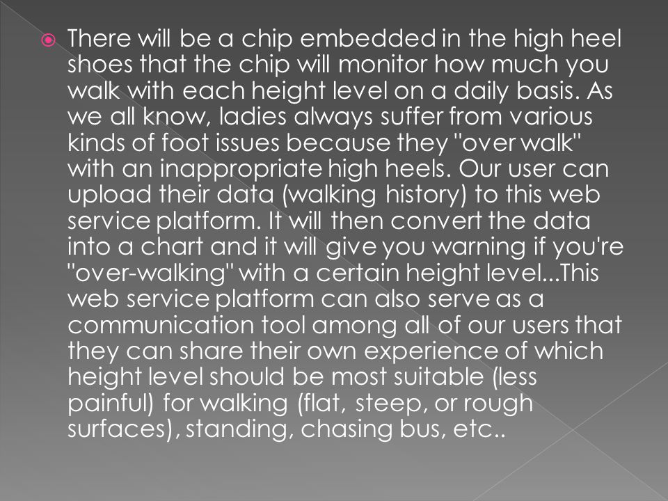  There will be a chip embedded in the high heel shoes that the chip will monitor how much you walk with each height level on a daily basis.