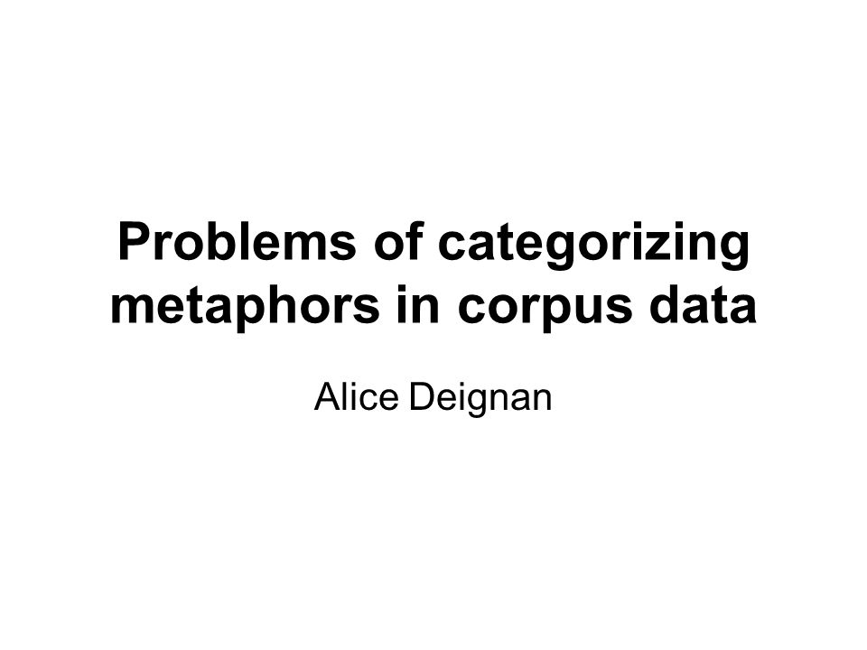 Structure Methodology for studying metaphors in corpora; Research Questions Distinctions used in classifying corpus data Problems