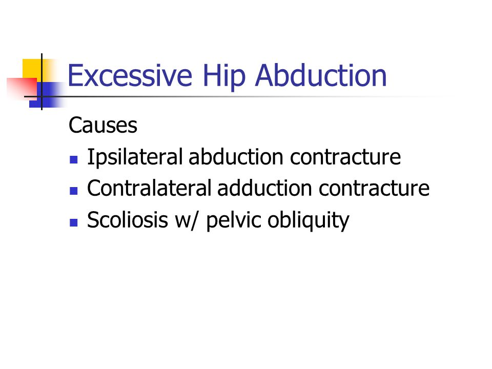 Excessive Hip Abduction Causes Ipsilateral abduction contracture Contralateral adduction contracture Scoliosis w/ pelvic obliquity