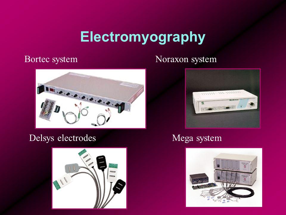 Electromyography Delsys electrodesMega system Noraxon systemBortec system