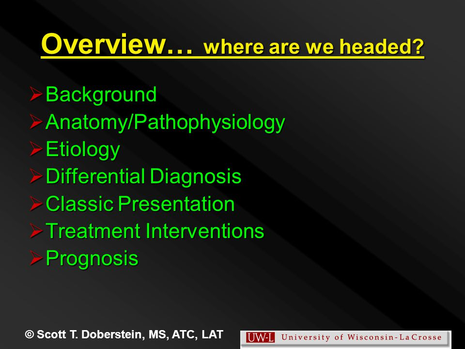 © Scott T. Doberstein, MS, ATC, LAT Overview… where are we headed.