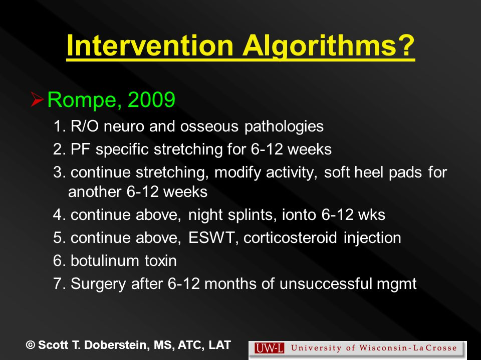 Intervention Algorithms.   Rompe, 2009 1. R/O neuro and osseous pathologies 2.