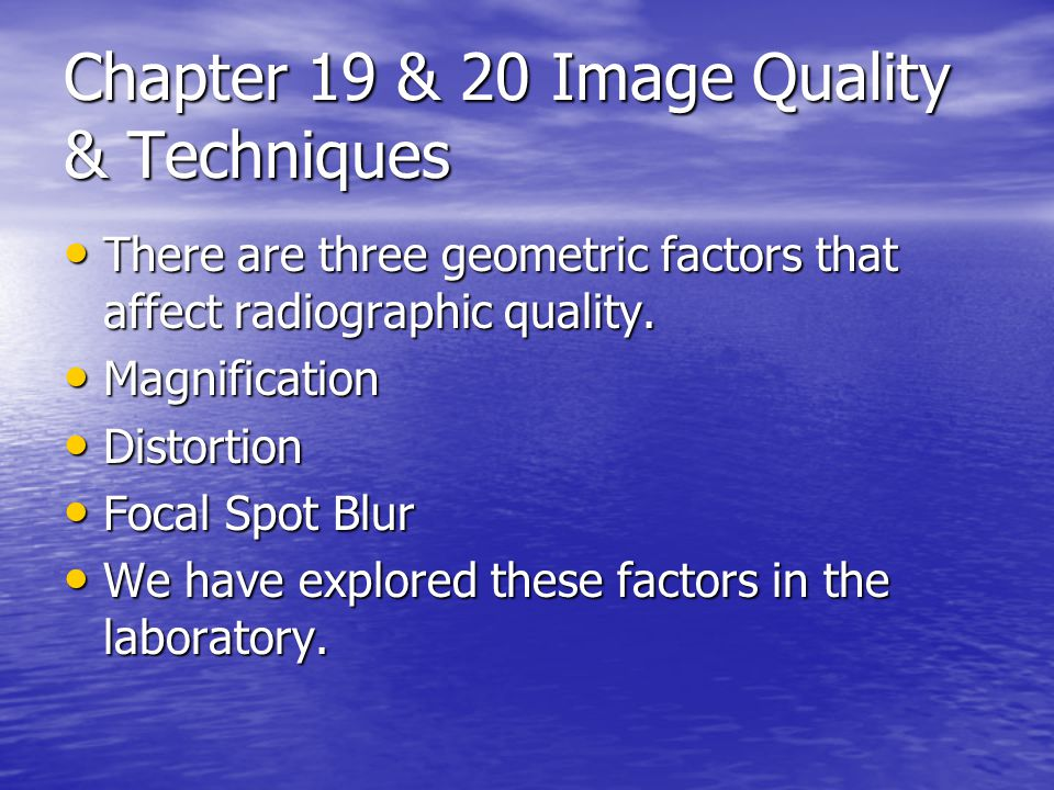 Magnification All objects on the radiograph are larger that their actual size.