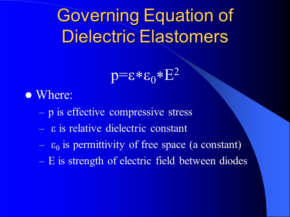 Governing Equation of Dielectric Elastomers p=  0  E 2 Where: – p is effective compressive stress –  is relative dielectric constant –  0 is per