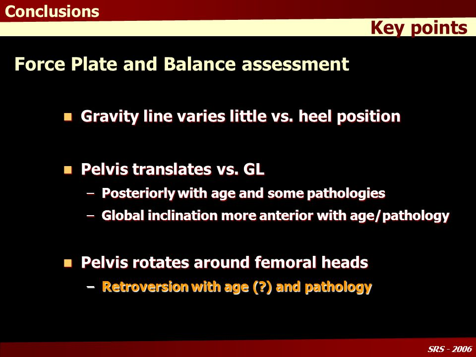 SRS - 2006 Force Plate and Balance assessment Gravity line varies little vs.