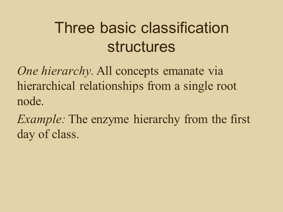 Three basic classification structures Multiple parallel hierarchies.