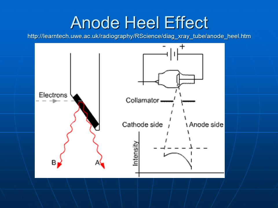 Anode Heel Effect http://learntech.uwe.ac.uk/radiography/RScience/diag_xray_tube/anode_heel.htm