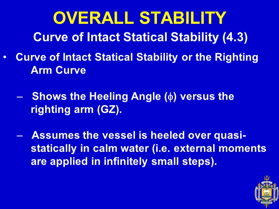 OVERALL STABILITY Curve of Intact Statical Stability or the Righting Arm Curve – Shows the Heeling Angle (  ) versus the righting arm (GZ). – Assumes