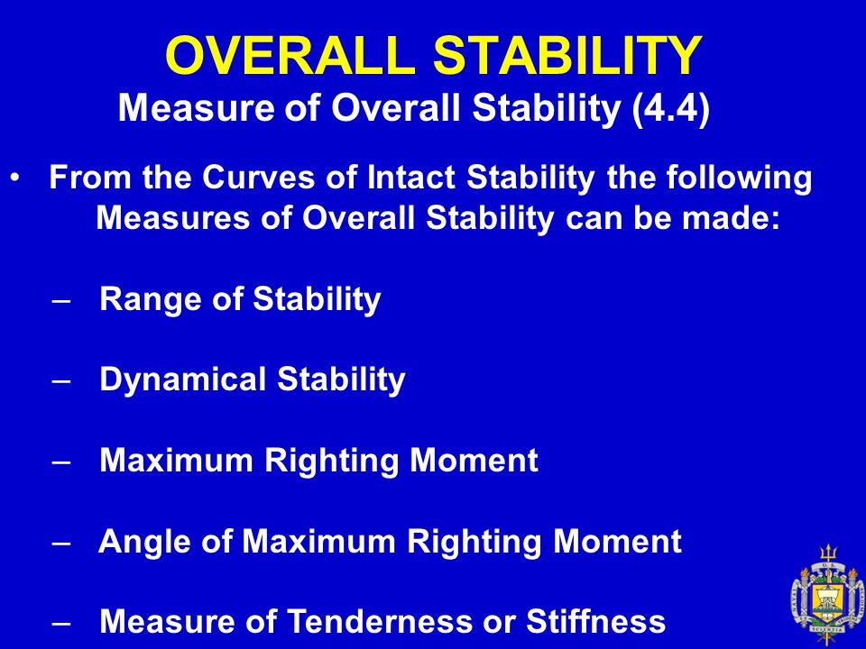 OVERALL STABILITY Measure of Overall Stability (4.4) From the Curves of Intact Stability the following Measures of Overall Stability can be made: – Ra