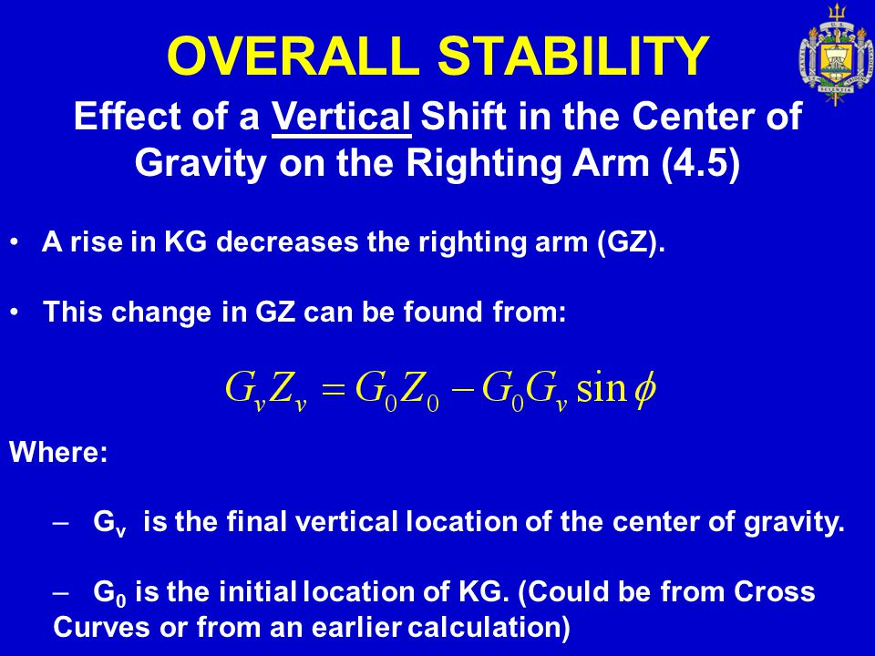 OVERALL STABILITY Effect of a Vertical Shift in the Center of Gravity on the Righting Arm (4.5) A rise in KG decreases the righting arm (GZ). This cha