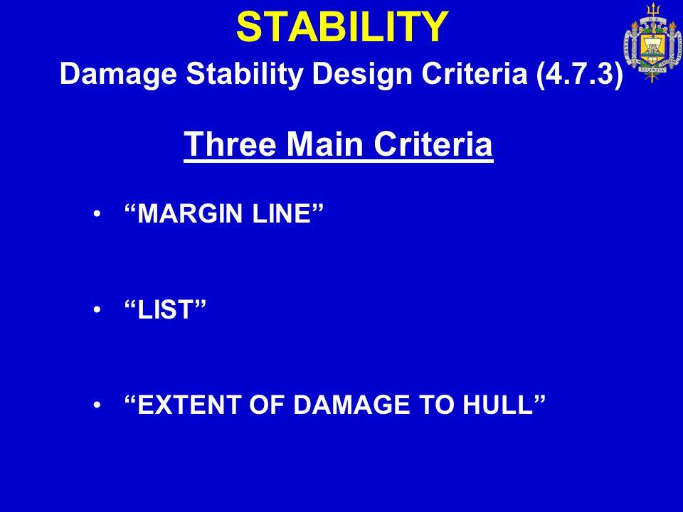 "STABILITY Damage Stability Design Criteria (4.7.3) Three Main Criteria ""MARGIN LINE"" ""LIST"" ""EXTENT OF DAMAGE TO HULL"""