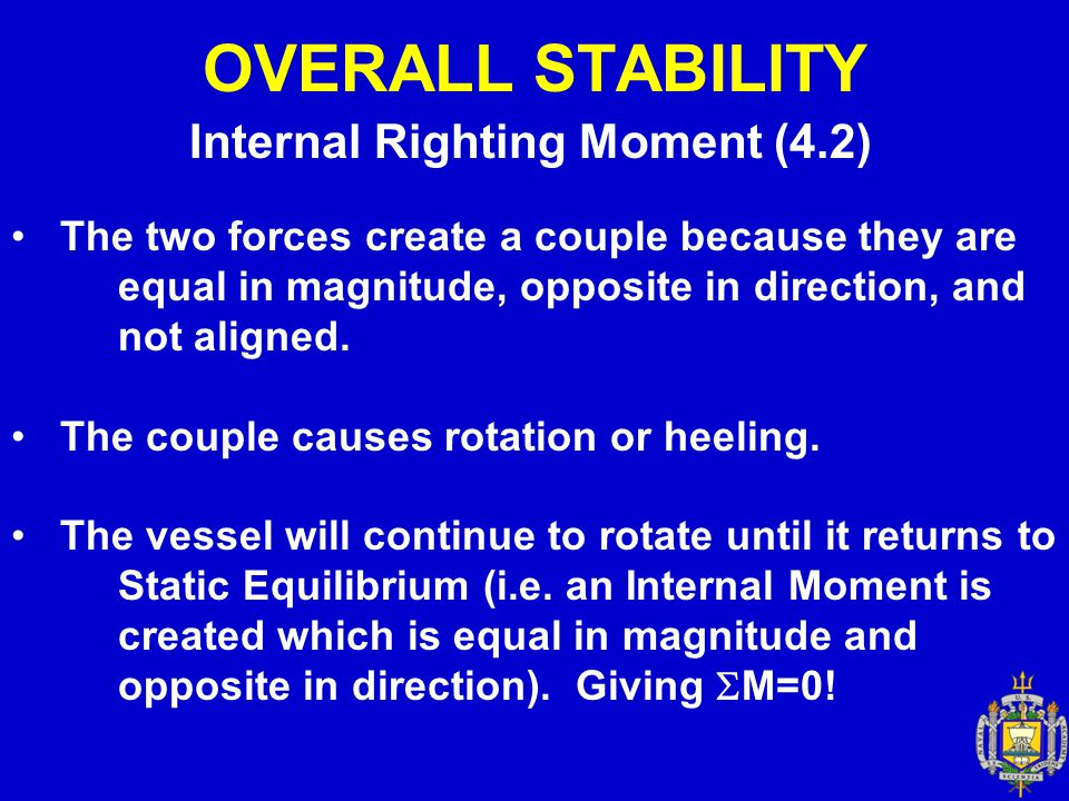 OVERALL STABILITY Measure of Overall Stability (4.4) Measure of Tenderness or Stiffness – The initial slope of the intact statical stability curve indicates the rate at which a righting arm is developed as the ship is heeled over.