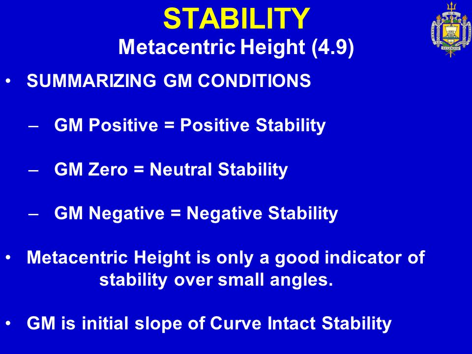 STABILITY Metacentric Height (4.9) SUMMARIZING GM CONDITIONS – GM Positive = Positive Stability – GM Zero = Neutral Stability – GM Negative = Negative