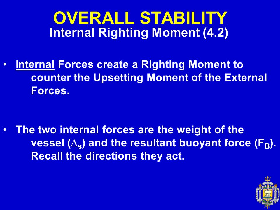 OVERALL STABILITY Internal Righting Moment (4.2) Internal Forces create a Righting Moment to counter the Upsetting Moment of the External Forces. The