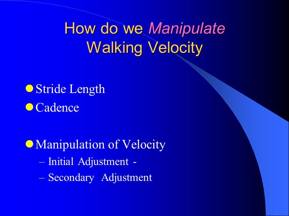 Stride Length Cadence Manipulation of Velocity –Initial Adjustment - –Secondary Adjustment