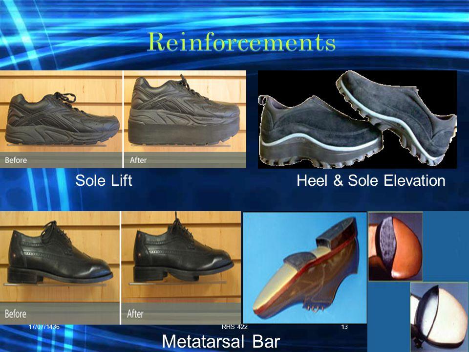 17/07/1436RHS 42213 Heel & Sole Elevation Metatarsal Bar Sole Lift
