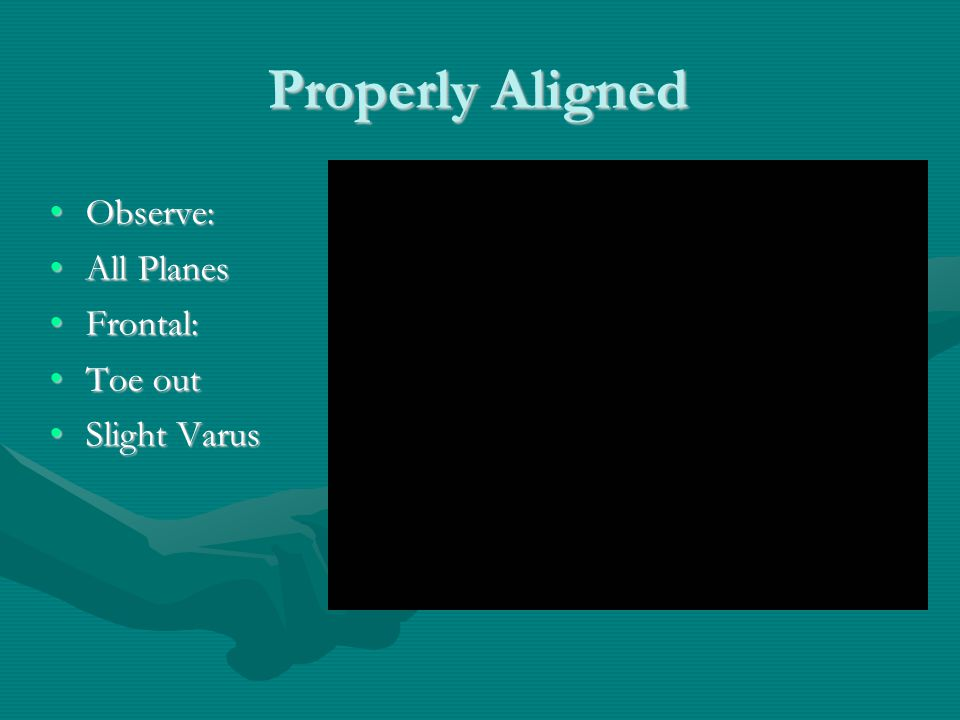 Properly Aligned Observe:Observe: All PlanesAll Planes Frontal:Frontal: Toe outToe out Slight VarusSlight Varus