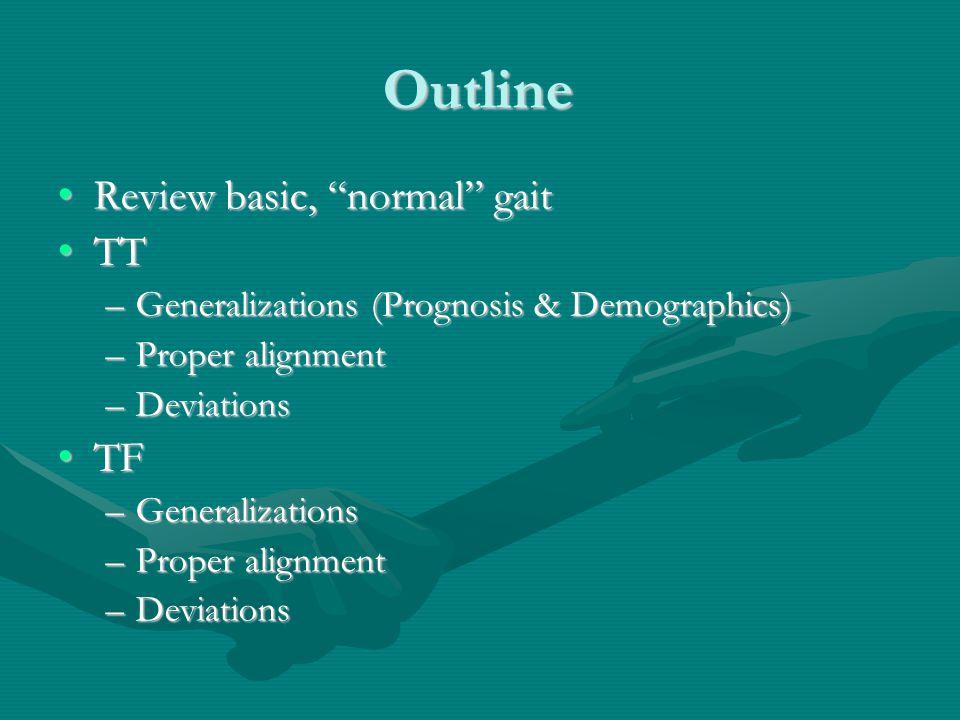 Outline Review basic, normal gaitReview basic, normal gait TTTT –Generalizations (Prognosis & Demographics) –Proper alignment –Deviations TFTF –Generalizations –Proper alignment –Deviations