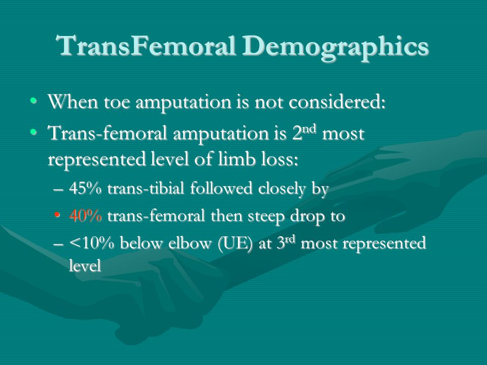 TransFemoral Demographics When toe amputation is not considered:When toe amputation is not considered: Trans-femoral amputation is 2 nd most represented level of limb loss:Trans-femoral amputation is 2 nd most represented level of limb loss: –45% trans-tibial followed closely by 40% trans-femoral then steep drop to40% trans-femoral then steep drop to –<10% below elbow (UE) at 3 rd most represented level