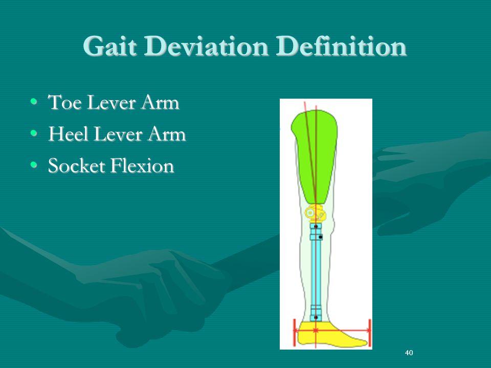 40 Gait Deviation Definition Toe Lever ArmToe Lever Arm Heel Lever ArmHeel Lever Arm Socket FlexionSocket Flexion 40