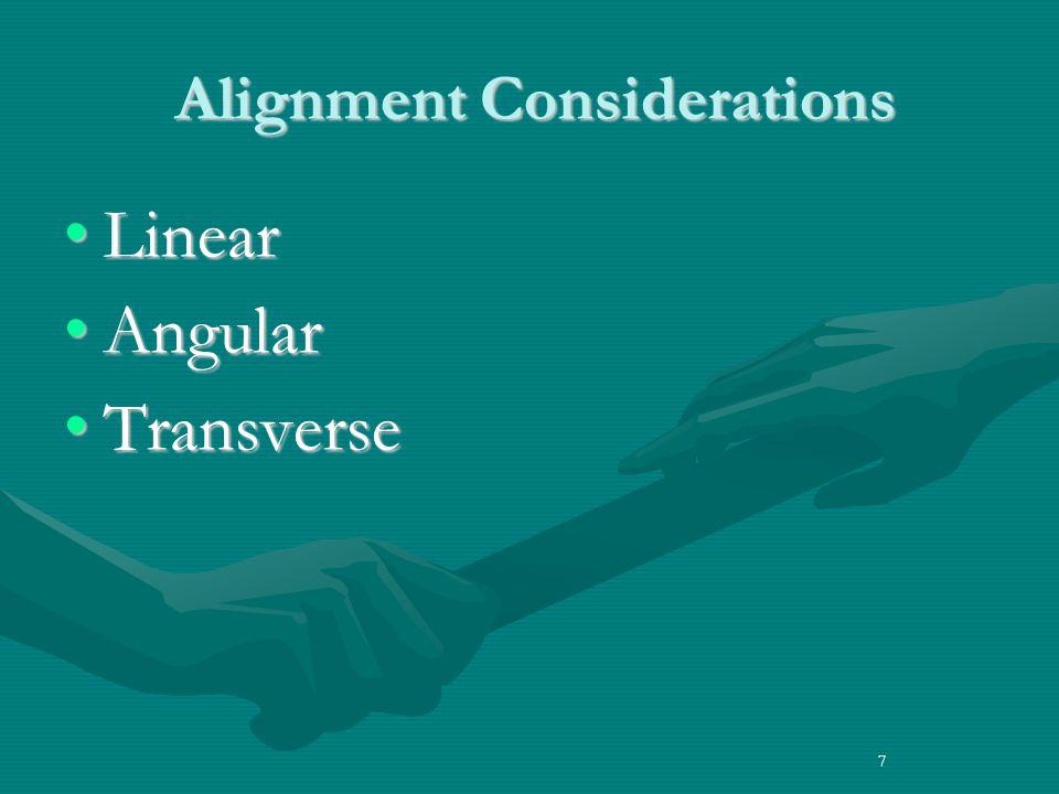 7 Alignment Considerations Alignment Considerations LinearLinear AngularAngular TransverseTransverse 7