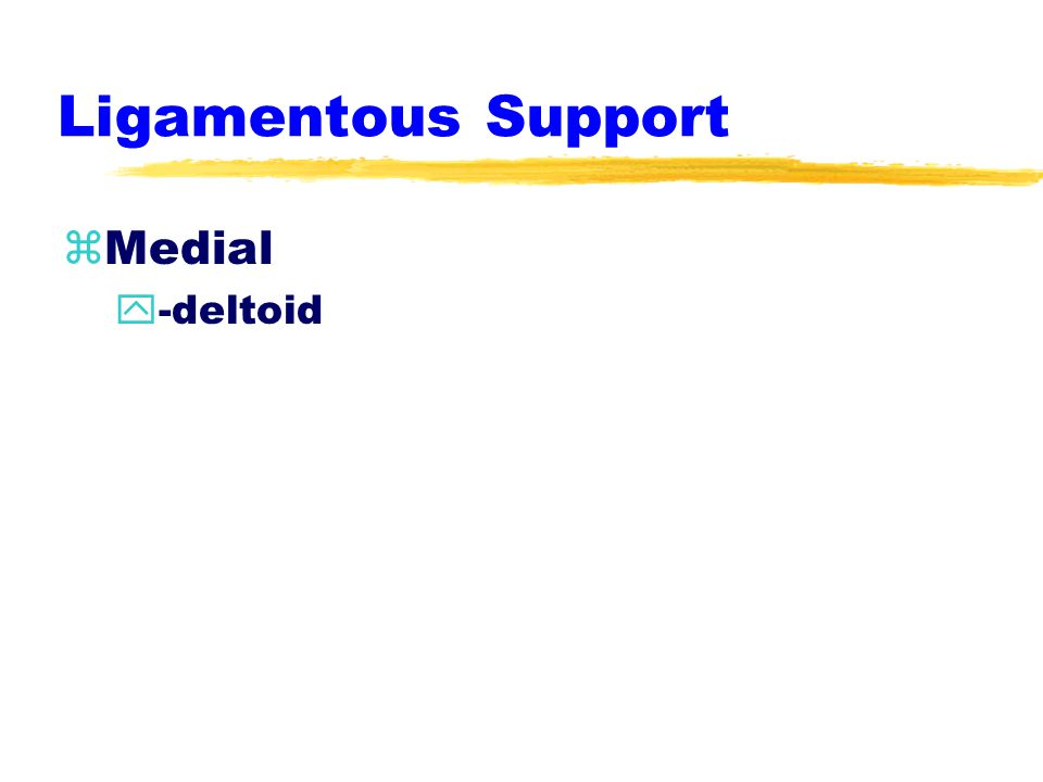 Ligamentous Support zLateral Ligaments y-anterior talofibular (atf) y-posterior talofibular (ptf) y-calcaneofibular (cf)