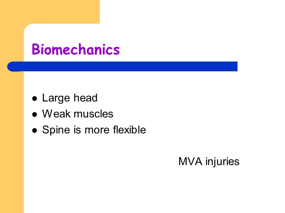 Biomechanics Large head Weak muscles Spine is more flexible MVA injuries