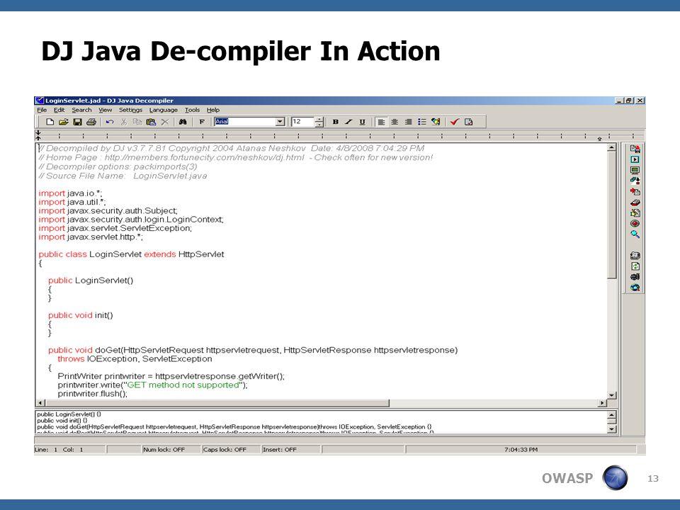 OWASP 13 DJ Java De-compiler In Action