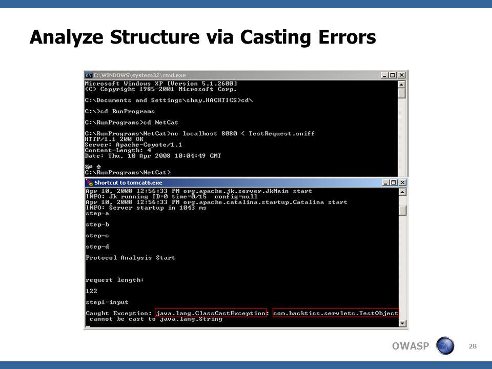 OWASP 28 Analyze Structure via Casting Errors