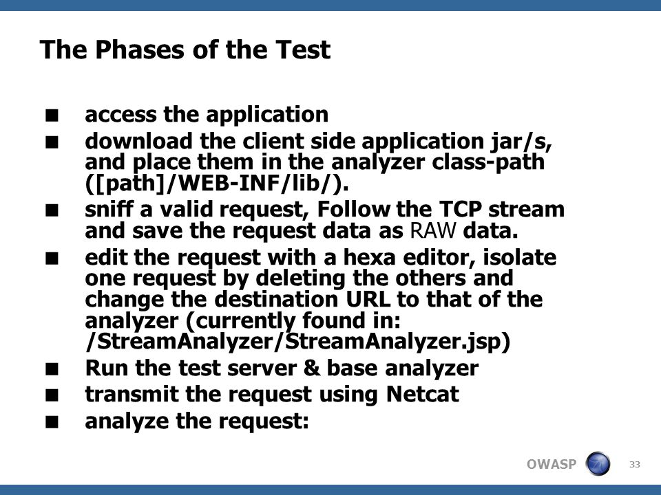 OWASP 33 The Phases of the Test  access the application  download the client side application jar/s, and place them in the analyzer class-path ([path]/WEB-INF/lib/).