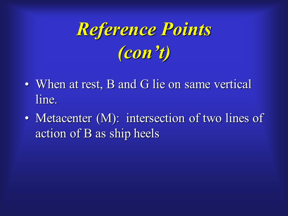 Reference Points (con't) When at rest, B and G lie on same vertical line.When at rest, B and G lie on same vertical line.